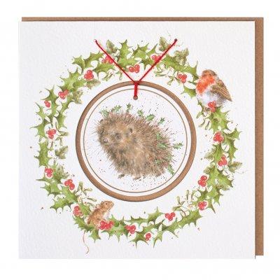 'Christmas Hedgehugs' Christmas Decoration card
